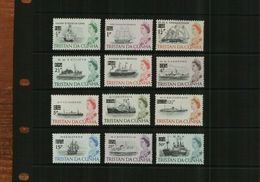TRISTAN DA CUHNA - QEII - 1971 - DECIMAL O/PRINTS  - MNH - 12 Stamps - Great Britain (former Colonies & Protectorates)