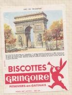 9/55  BUVARD BISCOTTES GRINGOIRE PHITIVIERS EN GATINAIS ARC DE TRIOMPHE - Biscottes