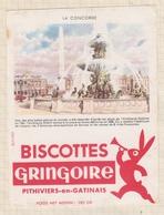 9/57  BUVARD BISCOTTES GRINGOIRE PHITIVIERS EN GATINAIS LA CONCORDE - Biscottes