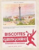 9/59  BUVARD BISCOTTES GRINGOIRE PHITIVIERS EN GATINAIS PLACE DE LA BASTILLE - Biscottes
