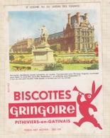 9/61  BUVARD BISCOTTES GRINGOIRE PHITIVIERS EN GATINAIS LE LOUVRE VU DU JARDIN DES TUILERIES - Biscottes
