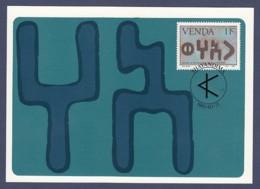 Venda - Maximum Card Of 1985 - MiNr. 107 - History Of The Writing - South Arabian Characters - Venda