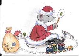 CARTE-PUCE-ALLEMAGNE-Gem2-1999-NOEL-SOURIS Jouant Au TRAIN-TBE-RARE - Noel