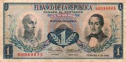 COLOMBIA UN PESO ORO  1968  P-404  VF+ - Colombia