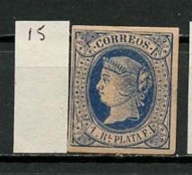 Antilles Espagnoles - Antillen 1864-66 Y&T N°15 - Michel N°15 * - 1r Isabelle II - Antilles