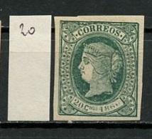 Antilles Espagnoles - Antillen 1866 Y&T N°20 - Michel N°20 * - 20c Isabelle II - Antilles