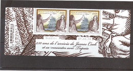 VV14 - Polynésie Française - James COOK Et TUPAIA En Paire. Grand Bas De Feuille Illustré Et Daté - - Neufs