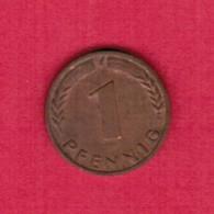 """GERMANY  1 PFENNIG 1967 """"F"""" (KM # 105) #5319 - [ 7] 1949-… : FRG - Fed. Rep. Germany"""