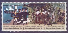 PAPUA NEW GUINEA 1982 - Catholic Church, Se-tenant Strip Of 3v. MNH - Papouasie-Nouvelle-Guinée