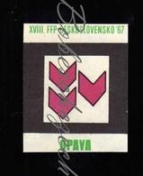 K9-63 CZECHOSLOVAKIA 1967 Symbol Opava  FFP Festival FFP Filmovy Festival Pracujicich - Workers Film Festival WFF - Luciferdozen - Etiketten