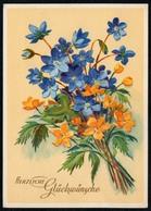 8590 - Glückwunschkarte Geburtstag- Blumen - Künstlerkarte - Erhard Bunkowsky Dresden - Blumen