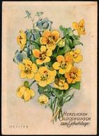 6856 - Ortlieb Glückwunschkarte Geburtstag - Blumen - Künstlerkarte DDR - Blumen