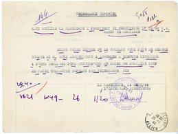 ALLIER TELEGRAMME LA MADELEINE ALLIER 1944 - Marcophilie (Lettres)
