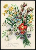 A4724 - Glückwunschkarte Geburtstag - Blumen - Künstlerkarte DDR - Verlag Werner Thiele - Blumen