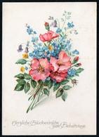 A4523 - Glückwunschkarte Geburtstag - Blumen - Künstlerkarte DDR - K&M - Blumen