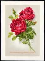 A9252 - Glückwunschkarte Geburtstag - Blumen Rosen - Künstlerkarte DDR - Nenke & Ostermaier - Blumen