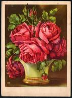 A7393 - Glückwunschkarte Geburtstag - Blumen Rosen - Künstlerkarte - Blumen