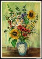 A7884 - Glückwunschkarte Geburtstag - Blumen Sonnblumen - Künstlerkarte DDR - Blumen