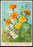 A7011 - Felix Funke Glückwunschkarte  - Blumen - Künstlerkarte DDR - Blumen