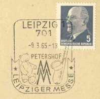 6259  Ours En Peluche, Saxophone, Foire Leipzig: Oblit. Temp. D'Allemagne, 1965 - Teddy Bear, Fair - Puppen