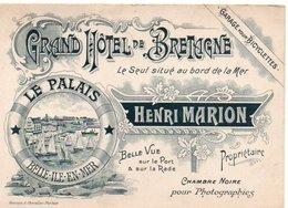 CARTE PUBLICITAIRE BELLE ILE EN MER GRAND HOTEL DE BRETAGNE LE PALAIS - Belle Ile En Mer