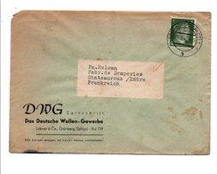 ALLEMAGNE REICH LETTRE A EN TETE DE GRÜNBERG POUR LA FRANCE 1942 - Germania