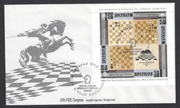 Chess, Armenia Erevan, 24.09.1996, Cancel & Cachet On Envelope With Booklet Pane, FIDE Congress Opening Day - Echecs
