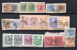 Österreich, Bis 1914, Kleines Los Mit 9 Briefstücken Mit Mehrfachfrankaturen, Insgesamt 21 Briefmarken (17143E) - 1850-1918 Empire