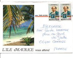 MAURICE AFFRANCHISSSEMENT COMPOSE SUR LETTRE POUR LA FRANCE 1991 - Mauritius (1968-...)