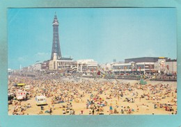 Small Postcard Of The Beach And Tower,Blackpool,Lancashire.V111. - Blackpool