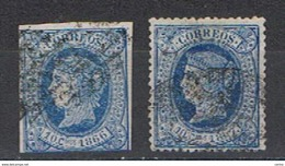 ANTILLE  SPAGNOLE:  1866/67  ISABELLA  II°  -  10 C. BLU  US. -  YV/TELL. 19 + 23 - Antille