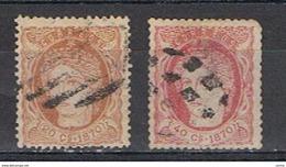 ANTILLE  SPAGNOLE:  1870  ALLEGORIA  -  2  VAL. US. -  YV/TELL. 36 + 37 - Antille