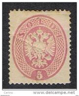 LOMBARDO  VENETO:  1863  AQUILA  RISTAMPA  -  5 S. ROSA  L. -  D. 13 1/4 X 13 1/2  -  PIEGA  NATURALE  -  SASS.  (38) - Lombardo-Veneto