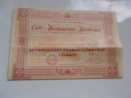 Café Restaurant BERTHOUX (1919) LYON Place Des Célestins - Actions & Titres