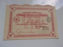 MINES D'OR DU BOURE SIEKE ET DE L'AFRIQUE OCCIDENTALE FRANCAISE (1907) - Actions & Titres