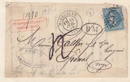 LETTRE DEVANT. 1869. BOITE MOBILE DARNEY VOSGES. MIRECOURT POUR EPINAL. AFFRANCHISSEMENT INS. 10,10gr. TAXE PLUME 4 - Storia Postale