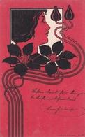 """Liberty  """" Uno Sfondo Rosso Per Le Nere Clematis """"   -  Edit.  E. Arenz, Wien  N°.  522 - Illustratori & Fotografie"""