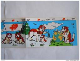 Sticker Autocollant 1991 Strook Van Bande De 5 Rode Kruis Croix Rouge Red Cross Ambulance Hond St Bernard Chien - Autocollants