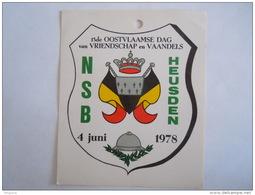 Sticker Autocollant NSB Heusden 1978 13de Oostvlaamse Dag Van Vriendschap En Vaandels Vlag Drapeau - Adesivi