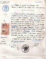 Extrait  Certificat Naissance, 4 Septembre 1891, Commune Landudal, Finistere, 2 Timbres De 90 C Effet Négociables Et Non - Non Classés
