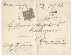 RACCOMANDATA DA BOLOGNA A GENOVA - 19.2.1895. - 1878-00 Umberto I