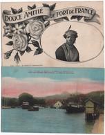 """FORT DE FRANCE - 2 Cartes  ("""" Amité De .."""" Et Baie Du Carénage  ) Ed Benoit CPA - Fort De France"""