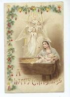 Novelty Postcard Hold To Light . Christmas Postcard 1903 Used Angel Crib Jesus - Halt Gegen Das Licht/Durchscheink.