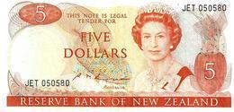NEW ZEALAND $5 JAMES COOK WMK 2ND ISSUE HEAD OF QEII BIRD BACK ND(1985-89) SIGN RUSSEL P.171b READ DESCRIPTION - Nieuw-Zeeland