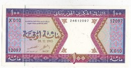 Billet Mauritanie 100 OUGUIYA 28 11 1993 - Mauritanië