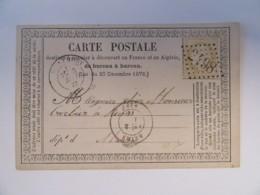 Timbre Cérès 15c YT N°59 Sur Carte Précurseur - Ob. GC 2498 (Montmort) - Vers Reims - 1873 - 1871-1875 Cérès