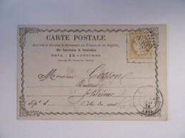 Timbre Cérès 15c YT N°59 Sur Carte Précurseur - Ob. GC 2092 (Loudéac) - Vers Saint Brieuc - 1874 - 1871-1875 Cérès