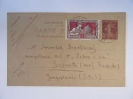 France - Entier Postal Semeuse 20c + Timbre Exposition Des Arts Décoratifs 25c YT N°212 - Vers Yougoslavie - 1925 - Postal Stamped Stationery