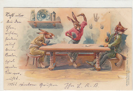 Fuchs Und Hasen Beim Kartenspiel - Litho - 1900      (A-103-70620) - Other
