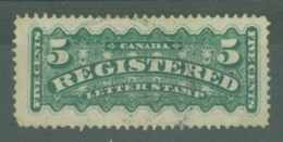 Canada: 1875/92   Registration Stamp   SG R7    5c   Blue Green   Used - Registration & Officially Sealed